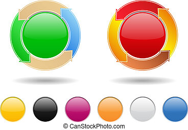 Round buttons with arrows