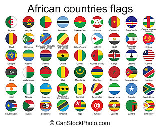 round buttons with flags of Africa - set of round buttons...