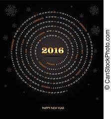 Round calendar for 2016 year. Week Starts Sunday.