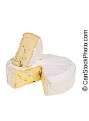 Round camembert cheese block with cut out quarter over white...