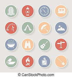 Round camping icons set. Vector icons