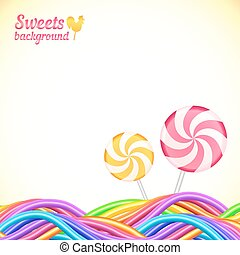 Round candy rainbow colors sweets background