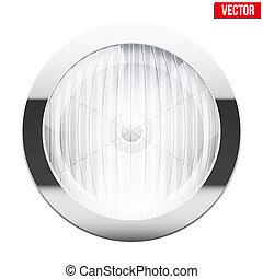 Round car headlight. Vintage Vector Illustration isolated on white background.