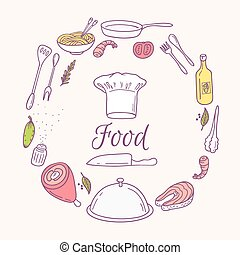 Round card with doodle food icons. Hand drawn elements for...