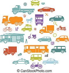 Round Card with Retro Flat Cars and Vehicles Silhouette Icons Transport Symbols Isolated Set Vector Illustration