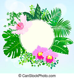 Round card with tropical elements of decor