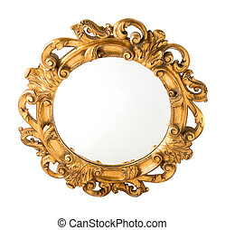Round Carved Wood Gilded Wall Mirror isolated on white...