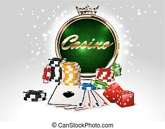 Round casino golden frame with crown, stack of poker chips, ace cards and red dice on green background. Online club emblem.