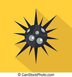 Round cell virus icon, flat style