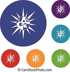 Round cell virus icons set