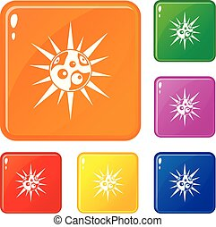 Round cell virus icons set vector color