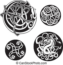 Round Celtic Knots. Vector Set.