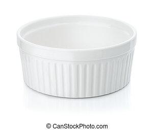 Round ceramic baking dish isolated on white