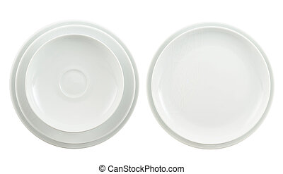 Round ceramic white plate stack isolated