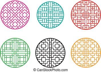 Round Chinese pattern window frame