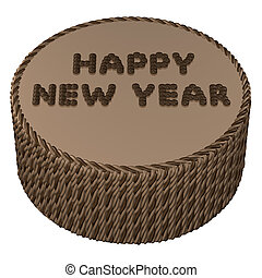 round chocolate cream with words happy new year 3d rendering