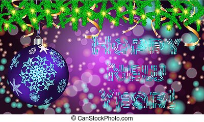 Round Christmas ball, toy, Christmas, New Year decoration with a pattern of snowflakes in spruce branches with garlands and golden ribbons on a blurred abstract background with bokeh effect, vector