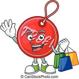 Round christmas free tag with character shopping