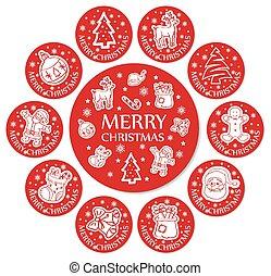 Round Christmas greeting cards set