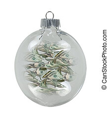 Round Christmas Ornament full of Money