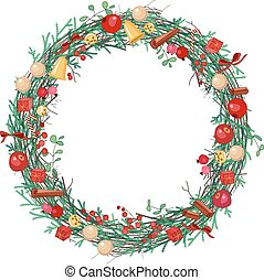 Round Christmas wreath with fir branches, balls and bows on...