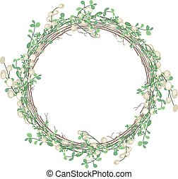 Round Christmas wreath with mistletoe branches isolated on...