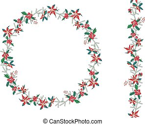 Round Christmas wreath with poinsettia isolated on white. ...