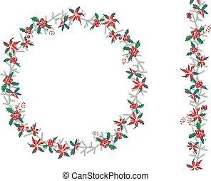 Round Christmas wreath with poinsettia isolated on white....