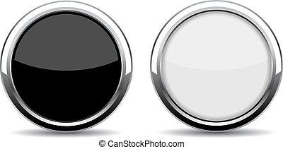 Round chrome glass button