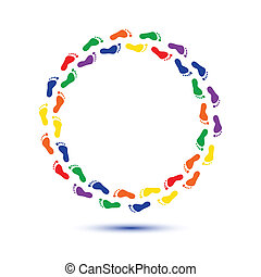 child foot steps - round circle child foot steps