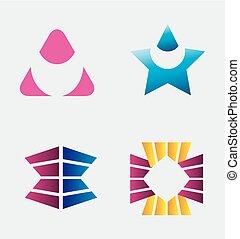 Round circular logo element set
