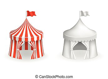 Round circus tent. Festival with entrance vector illustration