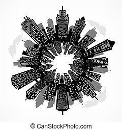 Round cityscape. Vector illustration.
