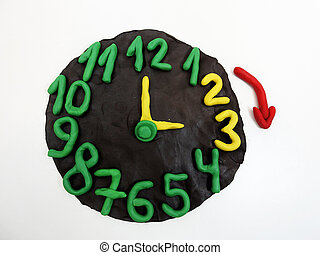 Round clock from plasticine
