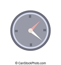 Round clock icon on a white background. Vector illustration.