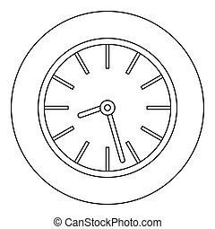Round clock icon, outline style.