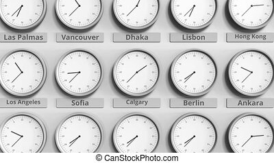 Round clock showing Calgary, Canada time within world time zones. 3D animation
