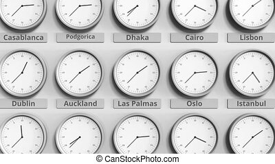 Round clock showing Las palmas, Spain time within world time...