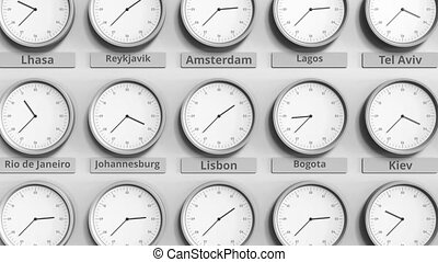 Round clock showing Lisbon, Portugal time within world time...
