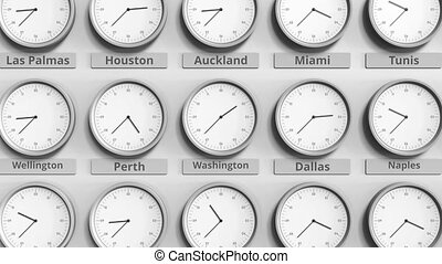 Round clock showing Washington, USA time within world time...