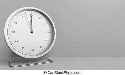 Round clock shows 12:00 sharp. Twelve o'clock. 3D animation...
