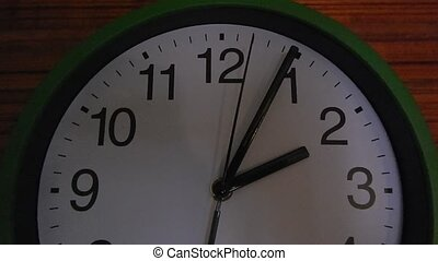 Round clock ticking arrows, time