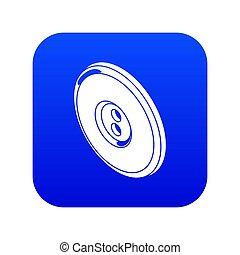 Round clothes button icon blue