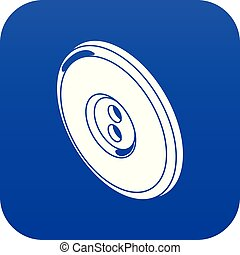 Round clothes button icon blue vector