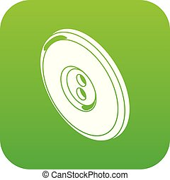 Round clothes button icon green vector