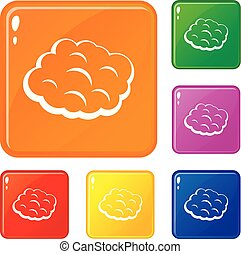 Round cloud icons set vector color