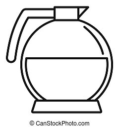 Round coffee glass icon, outline style