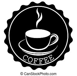 Round Coffee Ribbon Banners Shapes with a cup and steam in black and white