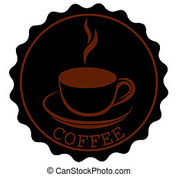 Round Coffee Ribbon Banners Shapes with a cup and steam in black brown