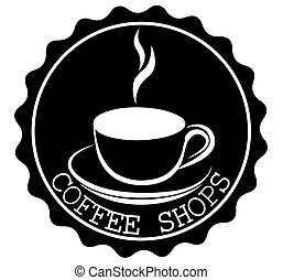 Round Coffee Shop Ribbon Banners Shapes with a cup and steam in black and white